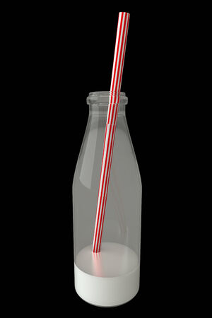 milkman: Milk bottle. realistic. isolated on black background. 3d illustration