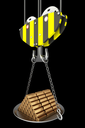 picking up: Crane hook, bowl with gold bars. isolated on black background. 3d illustration