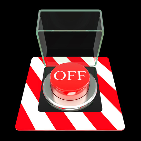 The red button, OFF. isolated black background. 3d photo
