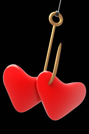 Shiny fishing hook, two hearts. realistic. isolated on black background. 3d illustration
