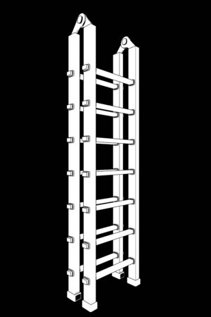 Ladder. isolated on black background. 3d photo