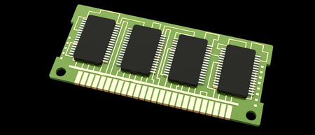 Computer RAM. Memory Card. random access memory. isolated on black background 3d render photo