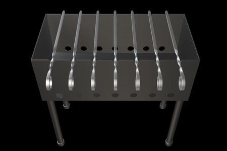 kitchen background: Folding barbecue grill camp wood stove. isolated on black background. 3d illustration