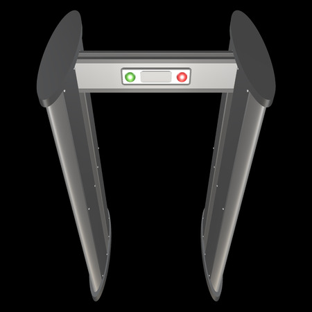 metal detector: metal detector. isolated on black background. 3d Stock Photo