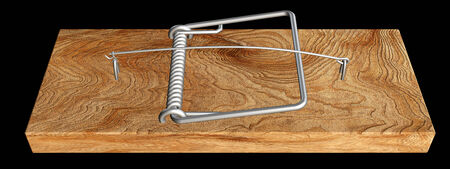 mousetrap. realistic. isolated on black background. 3d illustration