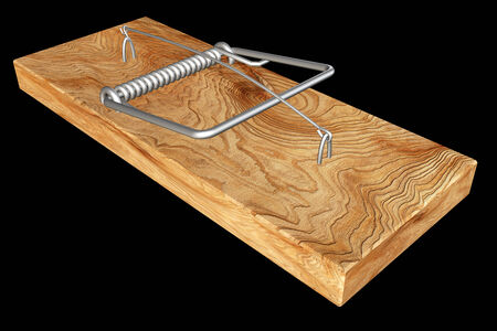 stealthy: mousetrap. realistic. isolated on black background. 3d illustration