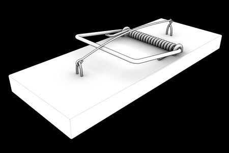 booby: mousetrap. isolated on black . 3d Stock Photo
