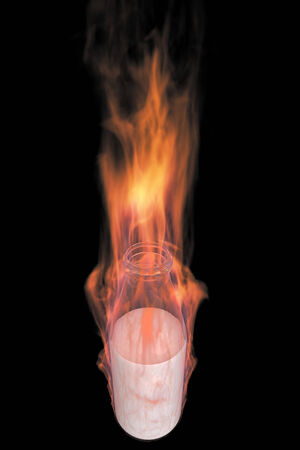 milkman: Milk bottle in fire. realistic. isolated on black . 3d illustration Stock Photo