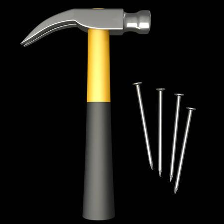 impact tool: Hammer and a nails. isolated on black 3d illustration. high resolution