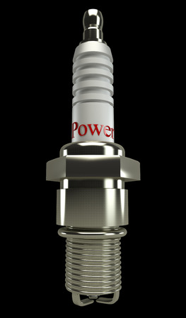 sparking plug: Spark Plug on black background 3d Stock Photo