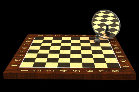 3d concept, reflected in the mirror of a pawn. black background photo