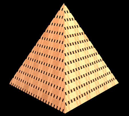 Pyramid made of wood. realistic. isolated on black background. 3d illustration illustration