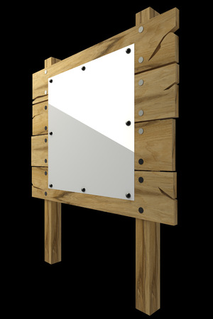 tether: Wooden message board. isolated on black background. 3d illustration Stock Photo