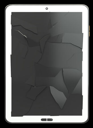 broken screen: Tablet PC. broken screen. isolated on black background 3d illustration. high resolution Stock Photo