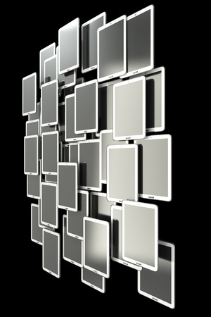 A lot of Tablet PC. isolated on black background 3d illustration. high resolution illustration