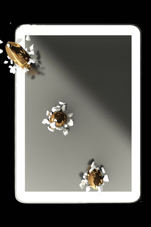 penetrate: Three bullets penetrate the tablet PC. isolated. black background. 3d Stock Photo