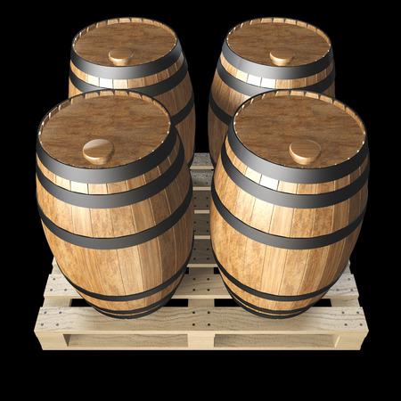 wooden barrels on wooden pallet. realistic. isolated on black . 3d illustration illustration
