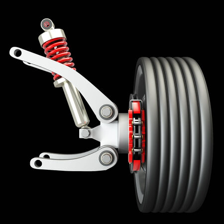 Wheel, shock absorber and brake pads. Isolated on black background. 3d photo