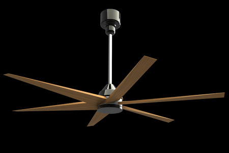 ceiling fan. Isolated on black background. 3d photo