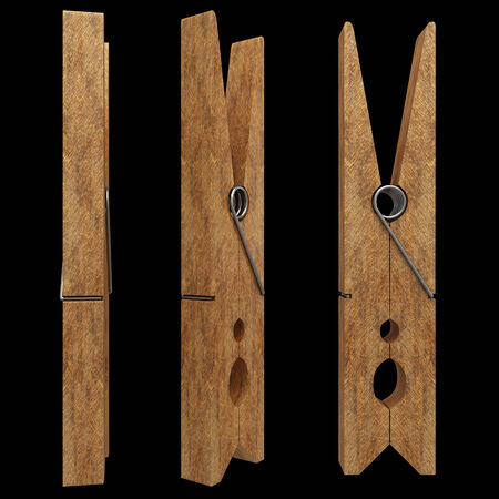 clothespeg: wooden clothespin. realistic. isolated on black background. 3d illustration
