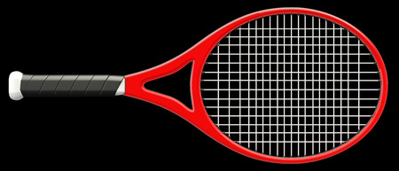 Tennis racket. isolated on black background. 3d