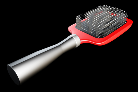 brush hair: Hair comb. realistic. isolated on black background. 3d illustration brush Stock Photo