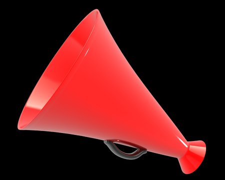 amplify: A red megaphone. isolated on black background. 3d illustration