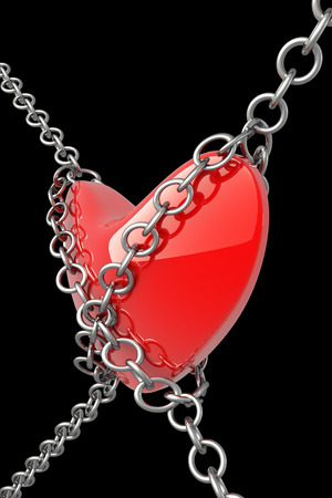 shackled: Heart in chains and shackles. isolated on black background. 3d illustration