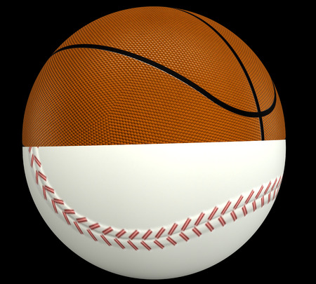 concept, a basketball and baseball ball. isolated on black background. 3d illustration