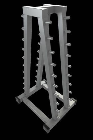 Rack for storing dumbbells. Isolated. black background. 3d Stock Photo