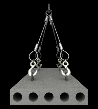 slings: Concrete slab on metal hanging rope slings. isolated on black background. 3d illustration  Stock Photo