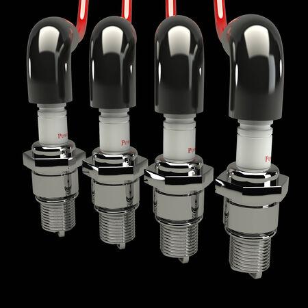 3d concept, spark plugs, cap candles on a black background photo