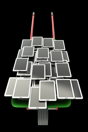 A lot of Tablet PC. isolated on black background 3d illustration. high resolution in chains illustration
