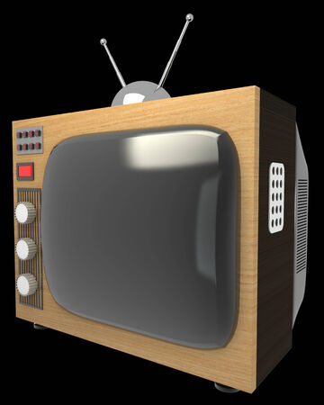 television antigua: casa vieja televisi�n. Mi propio dise�o. aislado sobre fondo negro 3d ilustraci�n. alta resoluci�n