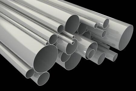 Steel pipes. isolated on black background. 3d illustration  illustration