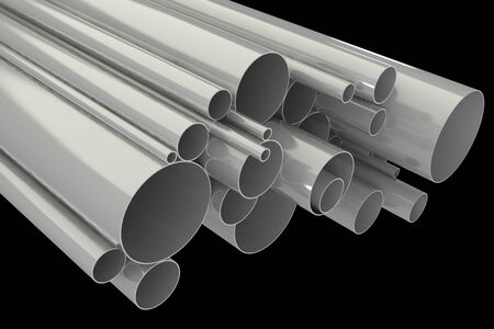 metalworking: Steel pipes. isolated on black background. 3d illustration