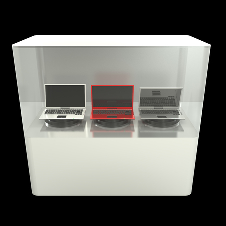 glass showcase. notebook. isolated on black background 3d illustration. high resolution illustration
