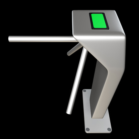 turnstile: metallic turnstile. isolated on black background 3d illustration. high resolution Stock Photo