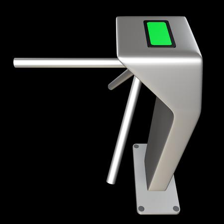 tourniquet: metallic turnstile. isolated on black background 3d illustration. high resolution Stock Photo