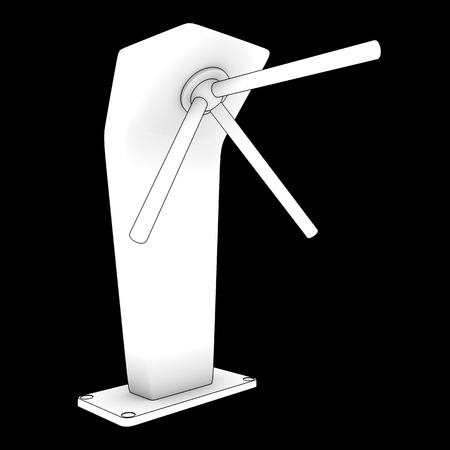 turnstile: metallic turnstile. isolated on black background. 3d