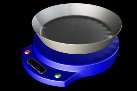 small electronic scales. isolated on black background. 3d photo