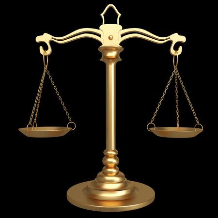Gold scales of justice. isolated on black background. 3d illustration Reklamní fotografie
