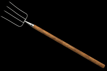 A pitchfork. isolated on black background 3d illustration. high resolution Stock Photo