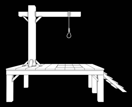 inhumane: gallows. isolated on black background 3d illustration. high resolution