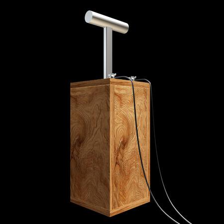 detonator: Old explosive detonator wooden. isolated on black background. 3d