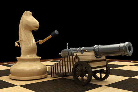Chess horse armed with a cannon. isolated. a white background. 3d photo