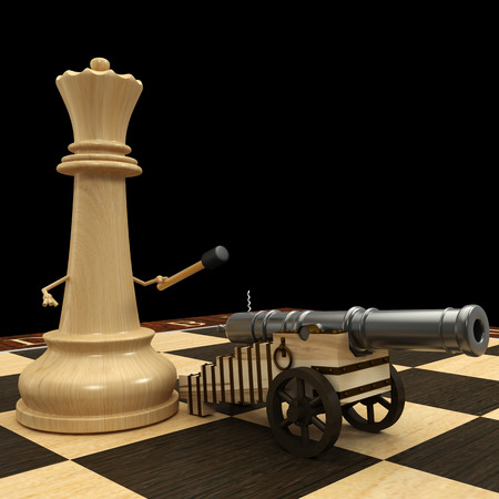 Chess queen with a cannon. isolated. a black background. 3d photo