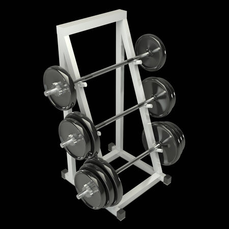 Dumbbells on a rack for storing vultures. 3d. Isolated on a black background