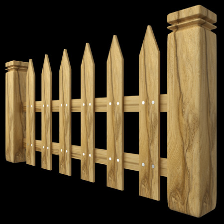wooden fence: a wooden fence. isolated on black background 3d illustration. high resolution