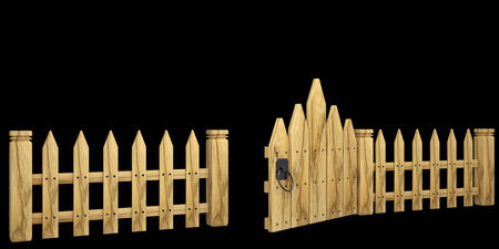 wooden fence with a gate. isolated on black background 3d illustration. high resolution Reklamní fotografie - 31532966